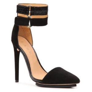 L.A.M.B. Black Gorgeous Velvet Oxley Pumps